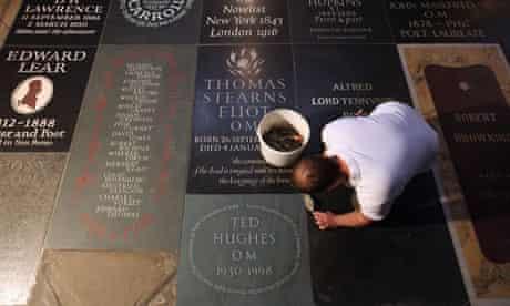 Ted Hughes memorial slab poets corner