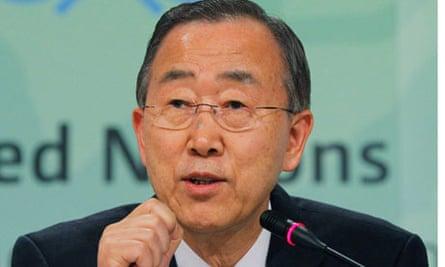 UN secretary-general Ban Ki-Moon at the UN Climate Change conference in Durban