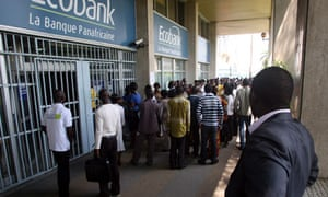 queue outside ecobank in ivory coast