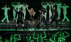 The Black Eyed Peas perform during halftime of NFL football Super Bowl XLV