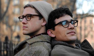 Aaron Tveit as Peter Orlovsky and James Franco as Allen Ginsberg in Howl.