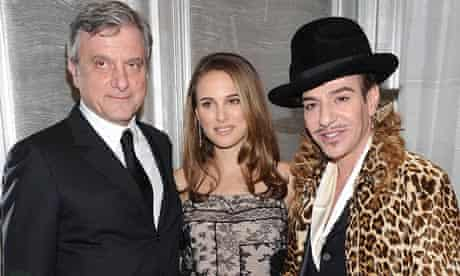 Sidney Toledano, actress Natalie Portman and designer John Galliano
