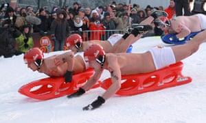 Germany naked sled race