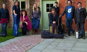 Steve Knightley (second from left) and the Cecil Sharp Project at the song house in Shropshire