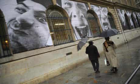 Paris street with giant photographs