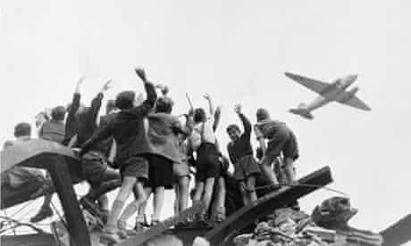Berlin Children Cheering Airlift Plane