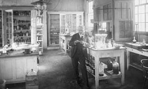 Thomas Edison Standing in Laboratory