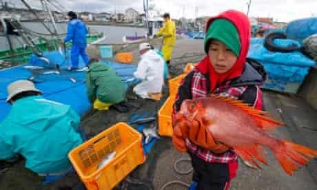 A boy carries a fish at Ohara port, Japan