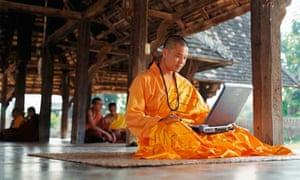 Monk on Laptop
