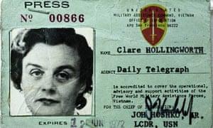 Clare Hollingworth's press card