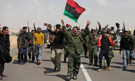 Libyan rebels shout slogans