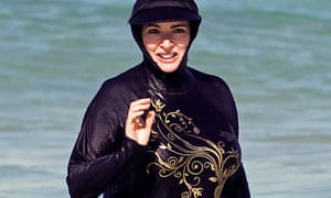 Nigella Lawson in her burkini on Bondi Beach in Sydney, Australia.