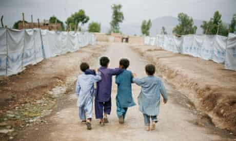 Refugee camp in Peshawar, north-west Pakistan.