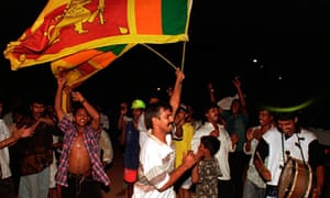 Sri Lankans celebrate victory over Australia in the Cricket World Cup final, 1996