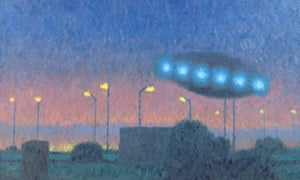 UFO over the City, 1980 (oil on canvas) by Buhler, Michael