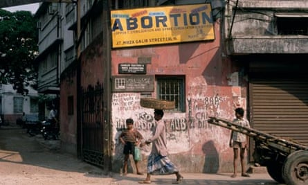 Abortion Sign in City Street
