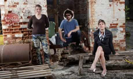 Sarah Lucas, left, with fellow British artists Julian Simmonds and Abigail Lane.