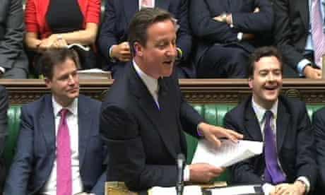 David Cameron in parliament