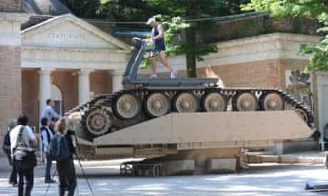 Tank turned into treadmill in Venice Biennale