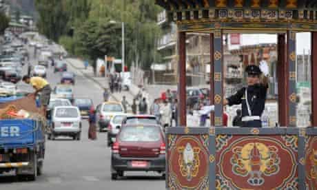 Bhutan: traffic in Thimphu