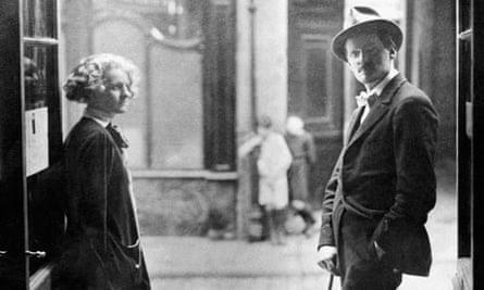 James Joyce with Sylvia Beach outside her book shop in Paris, 1920.
