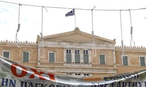 Nooses hang outside Athens parliament