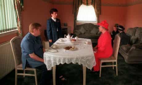 Queen taking tea with Mrs Susan McCarron