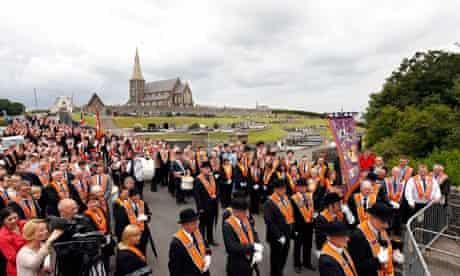 Orange order members in Portadown