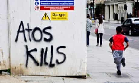 Atos Kills grafitti on Hampstead Road London