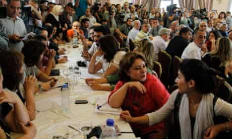 Syrian opposition intellectuals during a meeting