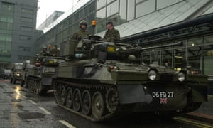 a tank on the city streets