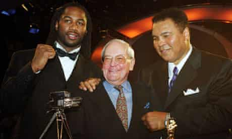 Harry Carpenter with muhammad Ali and Lennox Lewis in 1999