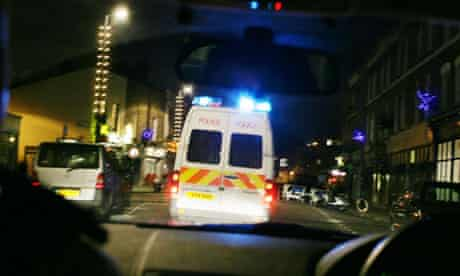 The view through the windshield of a police van
