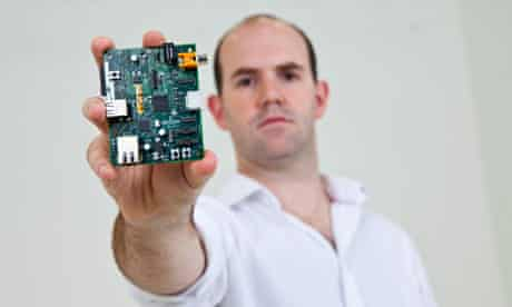 Engineer Eben Upton with a prototype of the Raspberry Pi computer