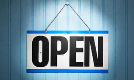 Open sign on blue background