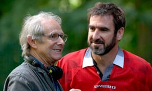 Ken Loach with Eric Cantona during the filming of Looking for Eric (2009).