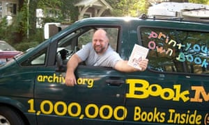 Michael Hart in his 'internet archive bookmobile' in 2002