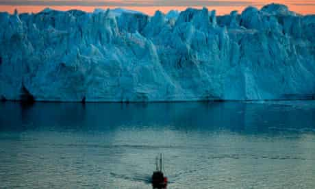 Melting ice caps in Jacobshavn Bay, Greenland.