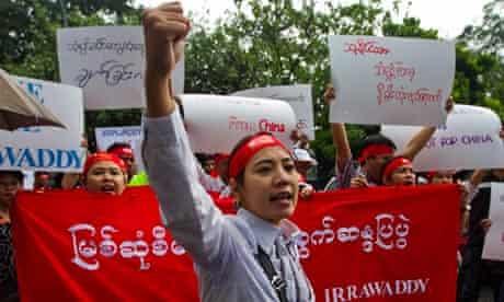Burma protest against Myitsone dam project