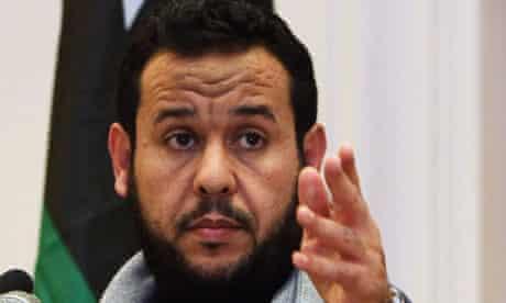 Libya's Islamist military chief Abdel Hakim Belhadj speaks during news conference in Tripoli
