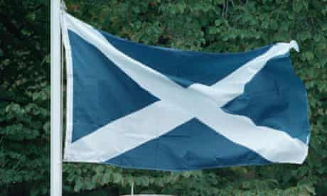 Scottish flag, the Saltire, flying.