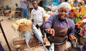A fish vendor in Lagos.
