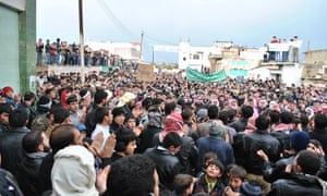 Protesters in Homs, Syria