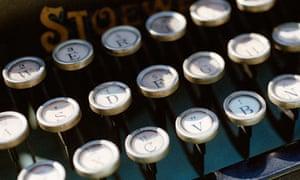 Keys on a typewriter