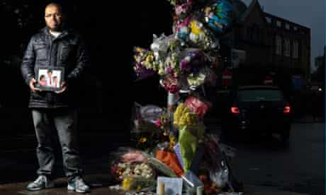 Hamid Bouadimi stands at the spot in south London where his five-year-old son was killed