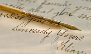 The lost art of letter writing culture the guardian example of handwriting with gold pen spiritdancerdesigns Choice Image