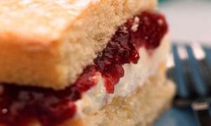 A slice of Victoria sponge cake