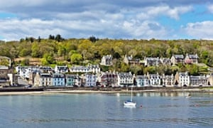 Burgh of Rothesay seafront with Pavilion left on island of Bute in west Scotland