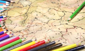 Color pencils on old contoured map, shallow DOF