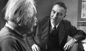 J Robert Oppenheimer talking to Albert Einstein